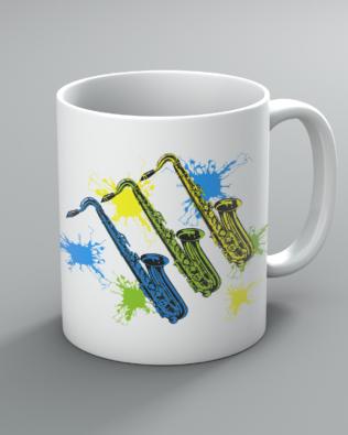 Neon Saxophones Mug