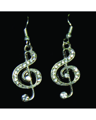 Rhinestone Clef Earrings