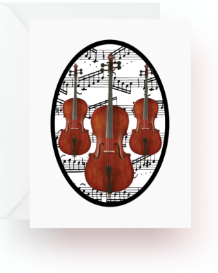 Cello With Music Note Cards