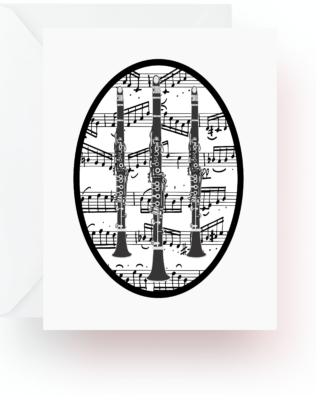 Clarinets With Music Note Cards