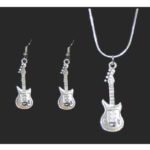 Electric Guitar Necklace and Earring Set