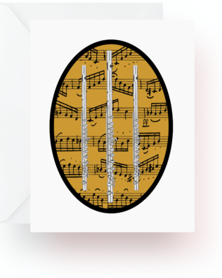Flutes and Music Note Cards