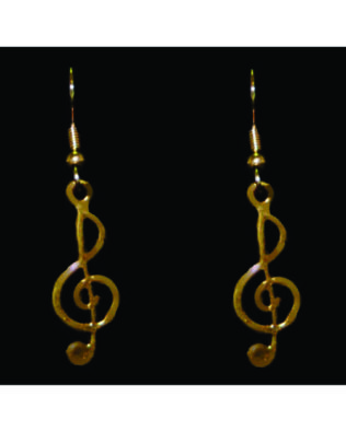 Gold-tone Treble Clef Earrings