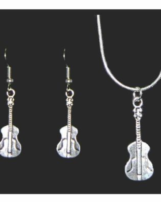 Acoustic Guitar Necklace and Earring Set