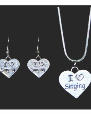 I Love Singing Necklace and Earring Set
