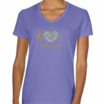 I Love Music Glitter V-neck T-shirt