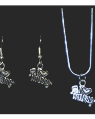 I Love Music Necklace and Earring Set