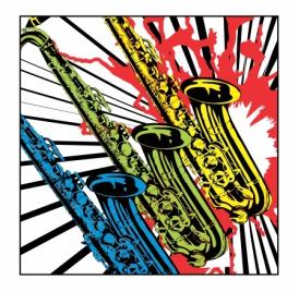 Neon Saxophones Magnet