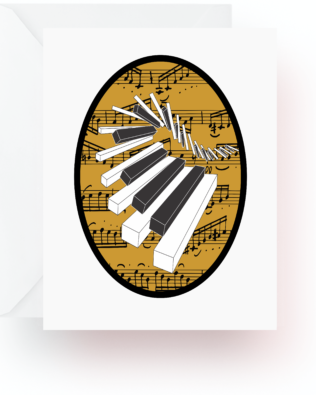 Wavy Keys With Music Note Cards