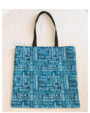 Music Words Blue Cotton Print Tote Bag