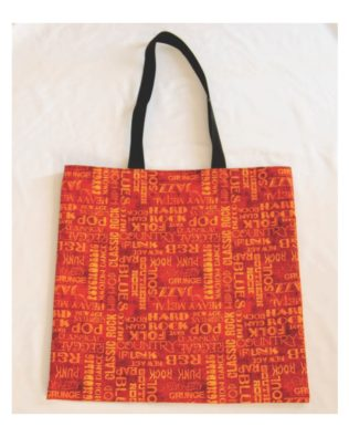 Music Words Red Cotton Print Tote Bag