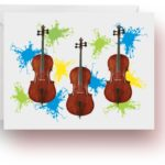 Neon Splash Cello Note Cards