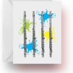 Neon Splash Flutes Note Cards
