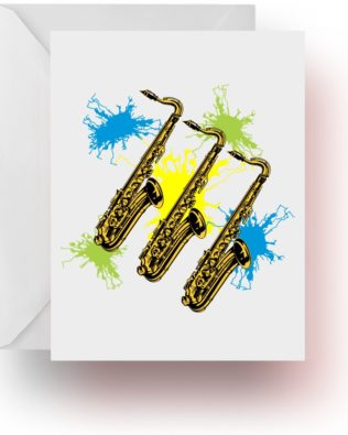 Neon Splash Saxophone Note Cards