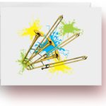 Neon Splash Trombones Note Cards