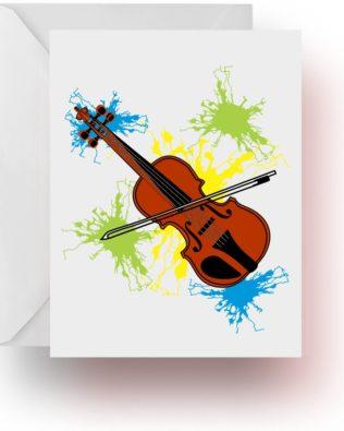 Neon Splash Violin Note Cards