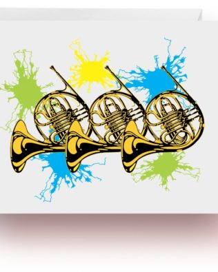 Neon Splash French Horns Note Cards