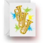 Neon Splash Tuba Note Cards