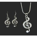 Rhinestone Treble Clef Necklace and Earring Set