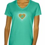 Piano Rhinestone V-neck T-shirt