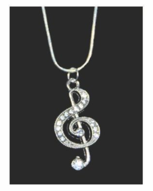 Rhinestone Treble Clef Necklace