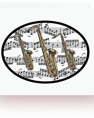 Saxophones With Music Note Cards