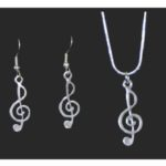 Treble Clef Necklace and Earring Set