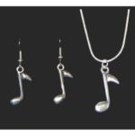 8th Note Necklace and Earring Set