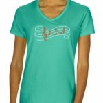 Staff & Notes Rhinestone V-neck T-shirt
