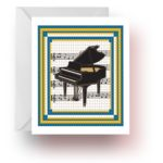 Tiled Grand Piano Note Cards