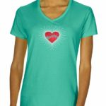 Staff & Notes in Heart Rhinestone V-neck T-shirt