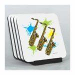 Neon Saxophones Coaster Set