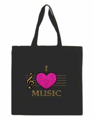 I Love Music Glitter Canvas Tote Bag