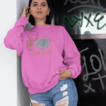I Love Music Glitter Design Sweatshirt