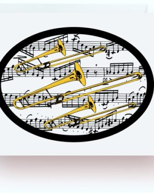Trombones With Music Note Cards