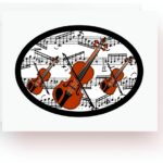 Violins With Music Note Cards